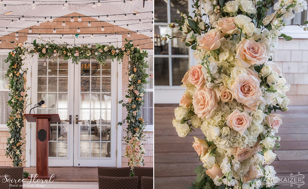 Asymmetrical Ceremony Trellis with Roses and Orchids Nantucket Wedding Soiree Floral
