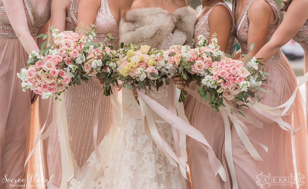 Blush and Rose Gold Bridesmaids and Bouquets Nantucket Wedding Soiree Floral
