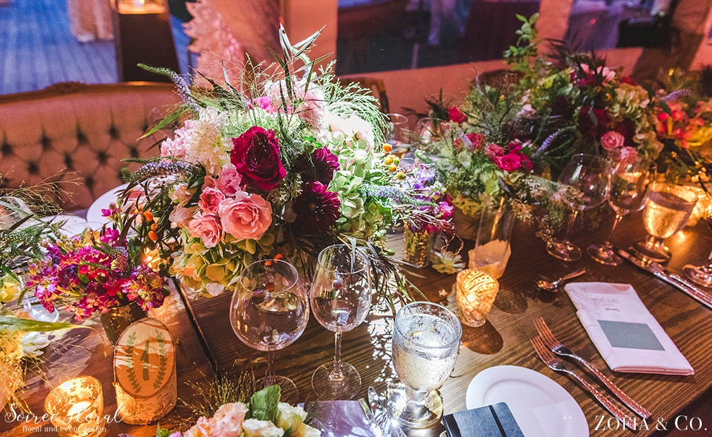 Bohemian Style Head Table Soiree Floral Nantucket 17