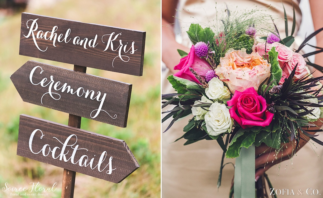 Ceremony Sign and Fall Hued Bridesmaid Bouquet Soiree Floral Nantucket 3