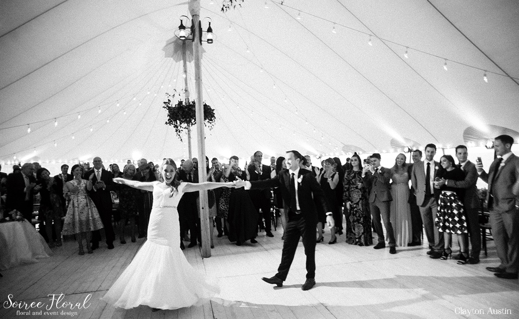 First Dance Nantucket Tented Wedding Soiree Floral Clayton Austin12