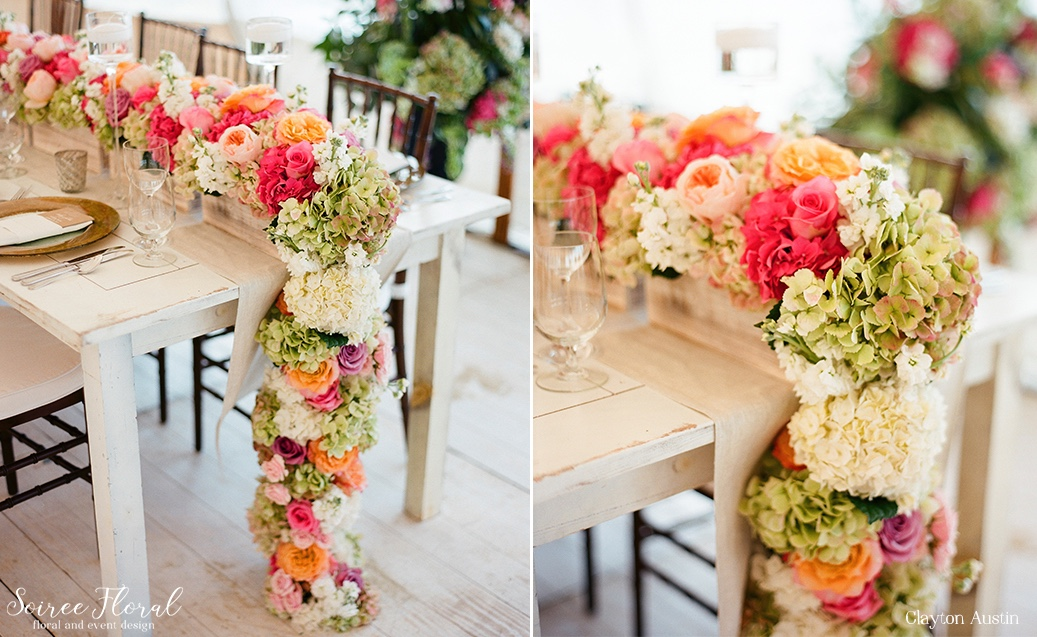Floral Garland Runner Galley Beach Wedding Clayton Austin Soiree Floral