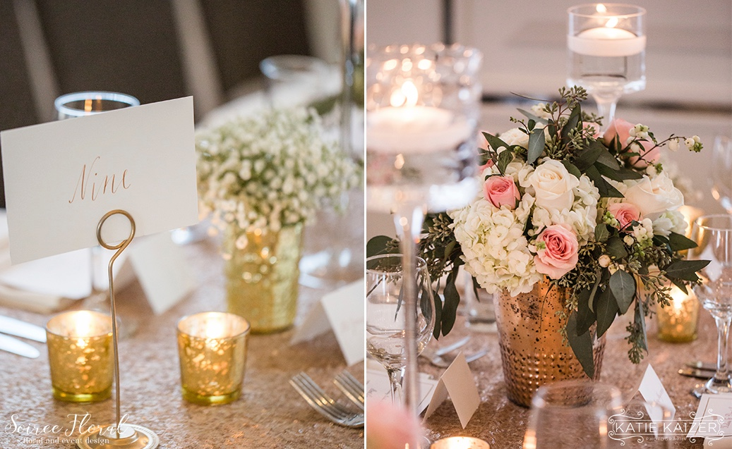 Gold and Rose Gold Table Details Soiree Floral Nantucket Wedding