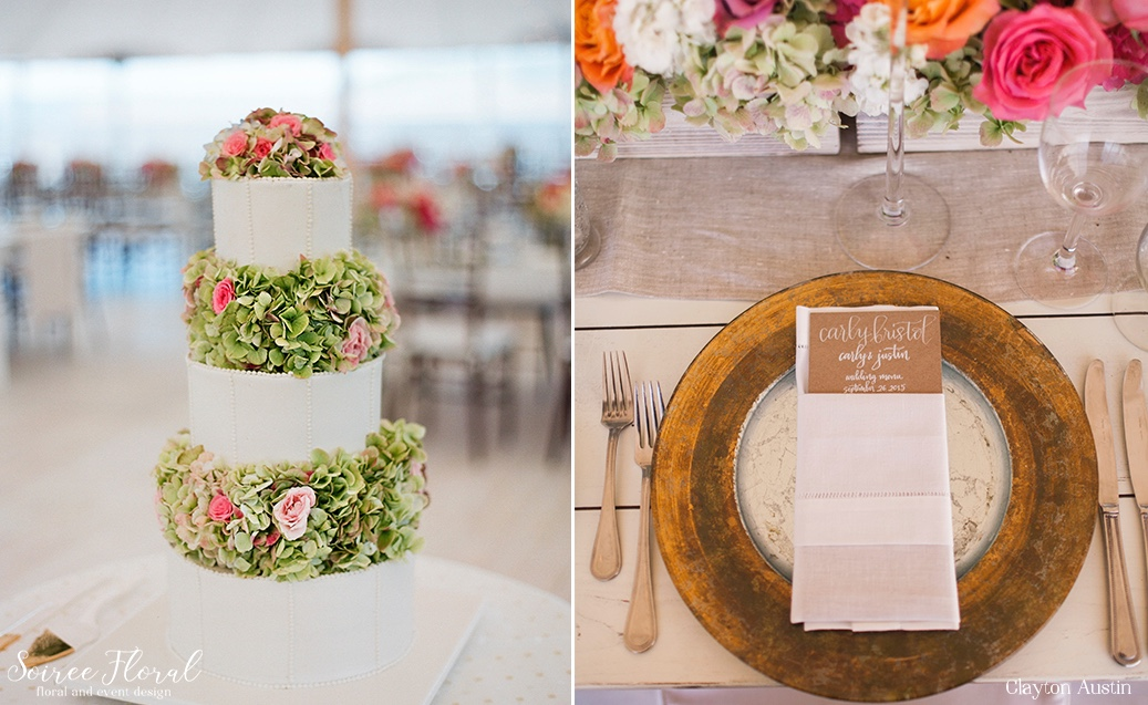 Hydrangea Wedding Cake Display – Kraft Paper Menus with Calligraphy Clayton Austin Nantucket11