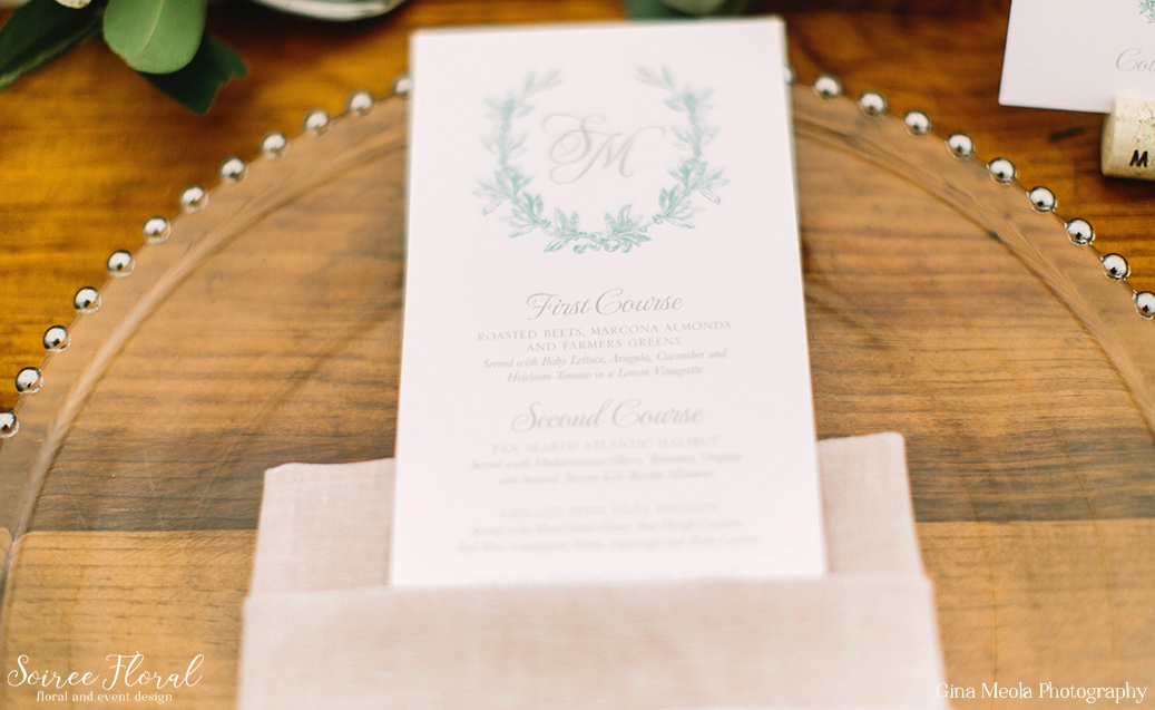 Laurel Monogram Wedding Menu Dawn Kelly Designs Nantucket 17