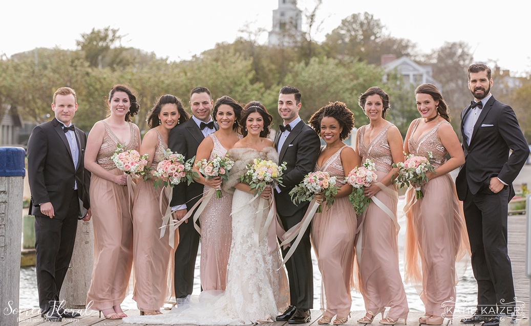 Nantucket Bridal Party Rose Gold Soiree Floral Katie Kaizer