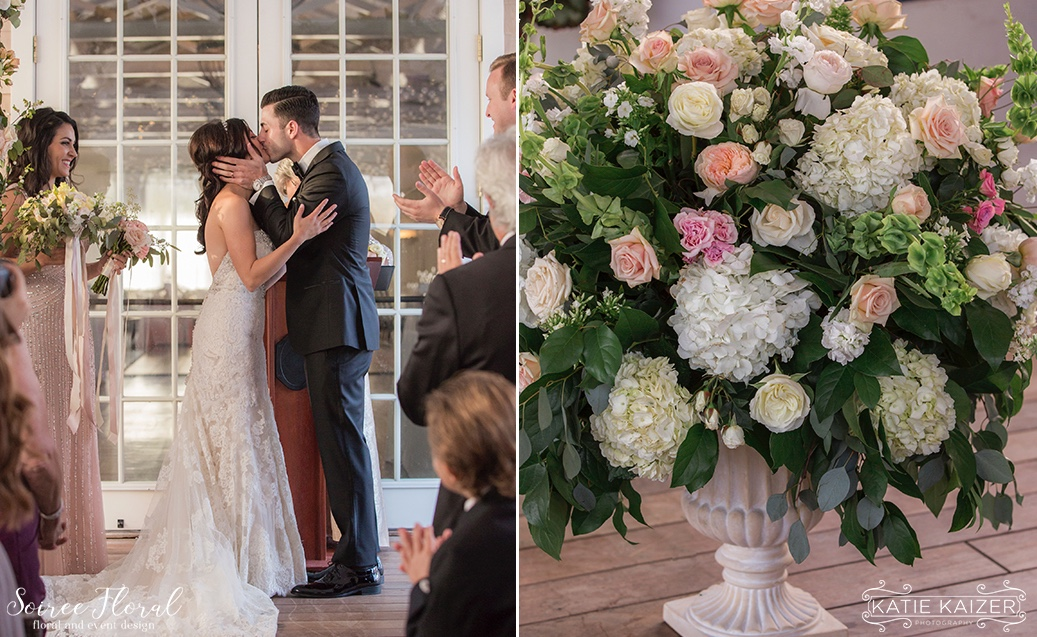 Peach Pink and White Ceremony Urn Nantucket Wedding Soiree Floral