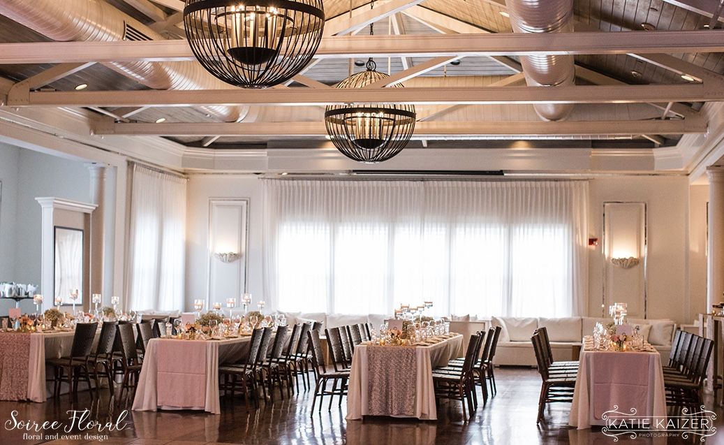 Pink and Gold Nantucket Hotel Wedding Reception Soiree Floral
