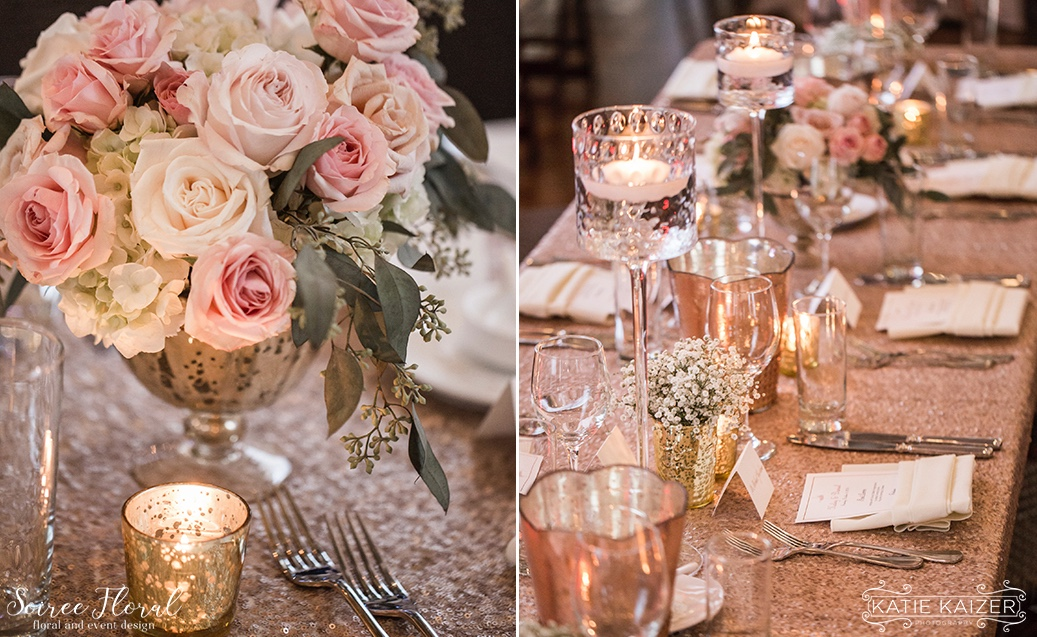 Pink and Gold Wedding With Sequins Nantucket Soiree Floral