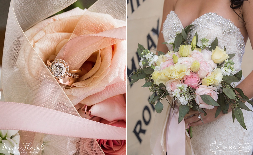 Rose Gold Engagement Ring_Pink and Peach Bridal Bouquet Nantucket Wedding Soiree Floral