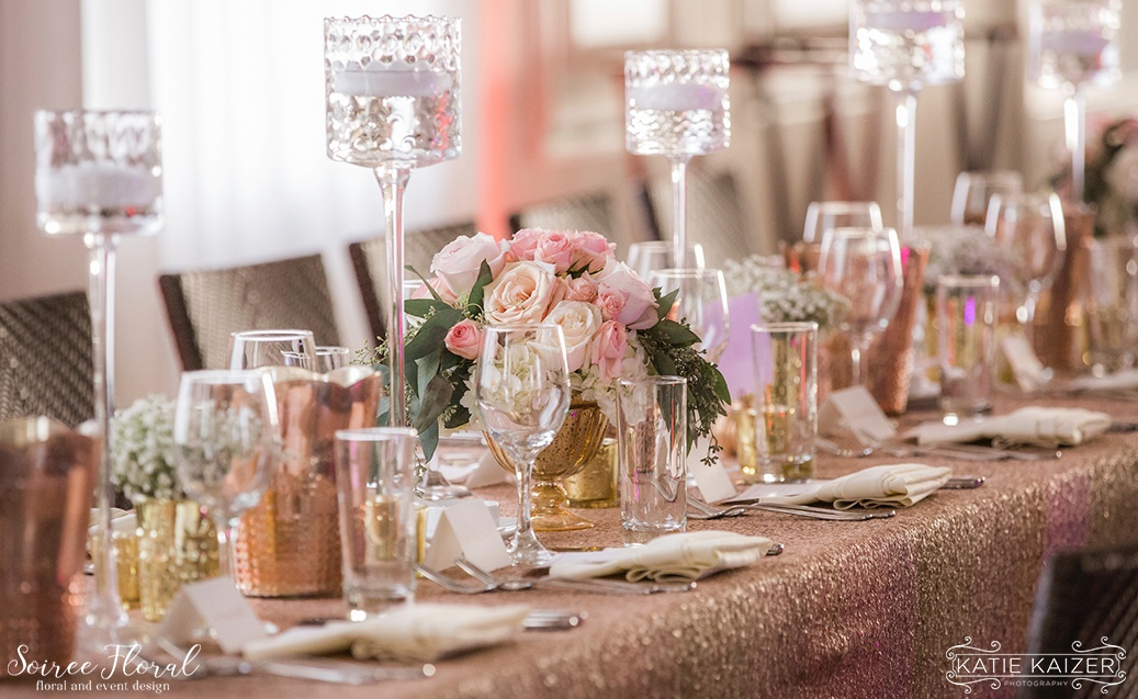 Rose Gold Tablescape Sequin Linens Nantucket Wedding Soiree Floral