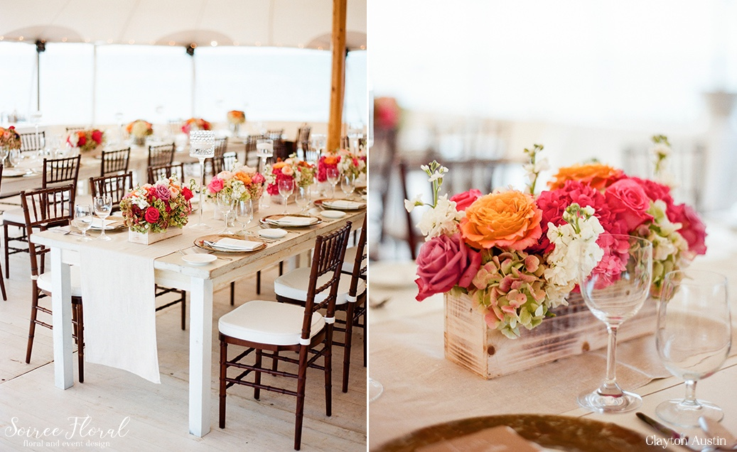 White Washed Farm Tables with Garden Roses and Floating Candles Soiree Floral Nantucket Clayton Austin8