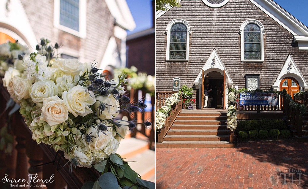 Ceremony-Stair-Garlands-Nantucket-Church-Soiree Floral 3