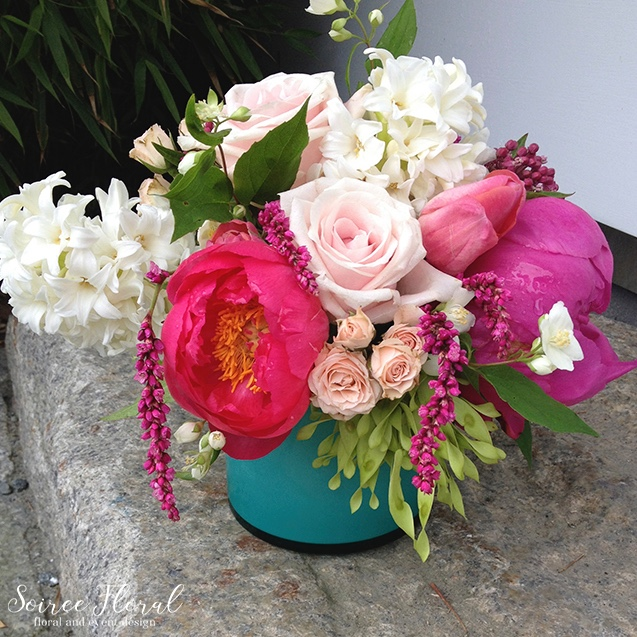 Lush Summer Arrangement – Peonies – Roses – Nantucket Florist – Soiree Floral