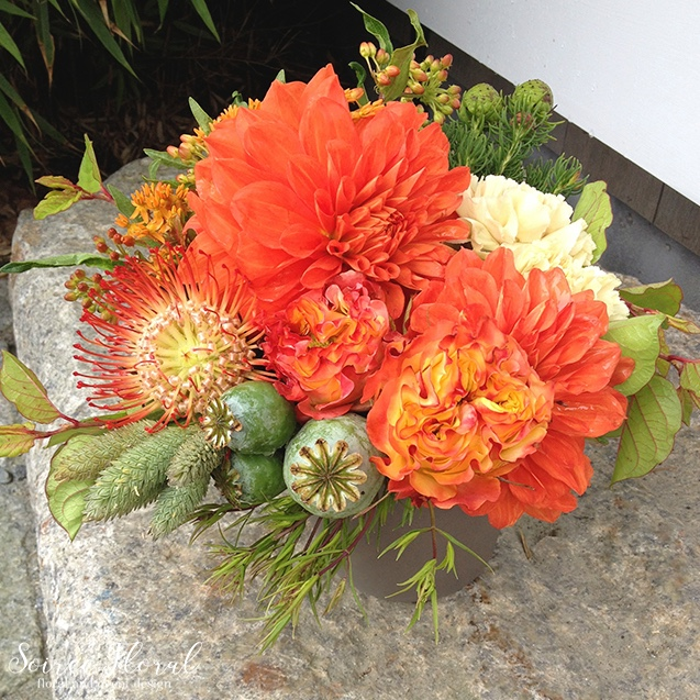 Orange and Green Floral Arrangement – Nantucket Florist – Soiree Floral