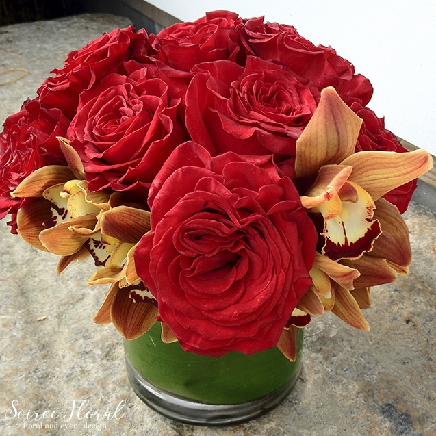 Red Rose and Orchid Arrangement – Soiree Floral Nantucket – Floral Delivery