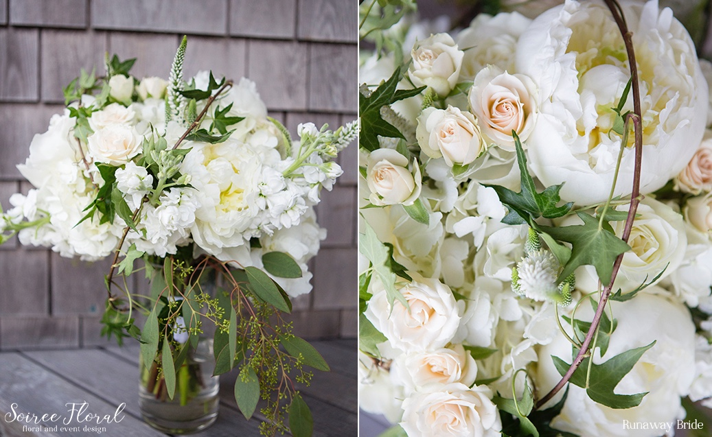 White and Green Peony Ivy Bouquet – Nantucket Wedding – Soiree Floral