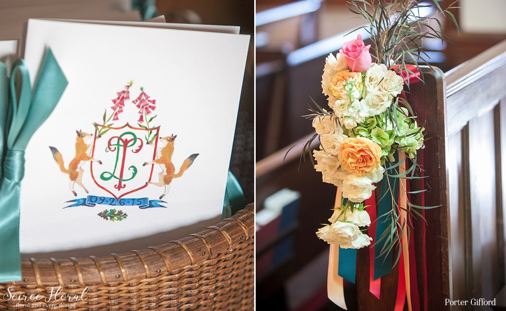 Colorful Pew Markers and Custom Illustrated Wedding Crest Nantucket Wedding