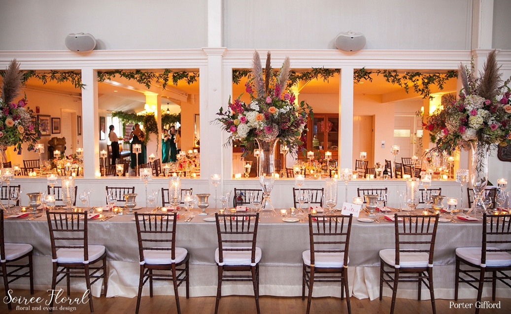 Colorful and Whimsical Tall Centerpieces for Head Table – Nantucket Wedding – Soiree Floral