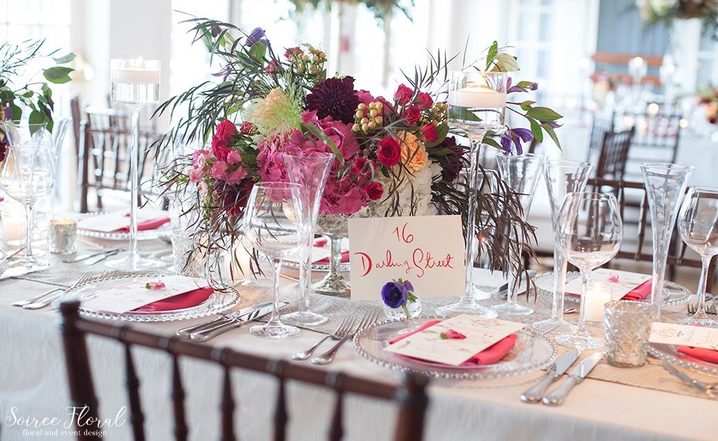 Lush Silver Compote Design – Garden Roses – Hydrangea – Nantucket Wedding – Soiree Floral