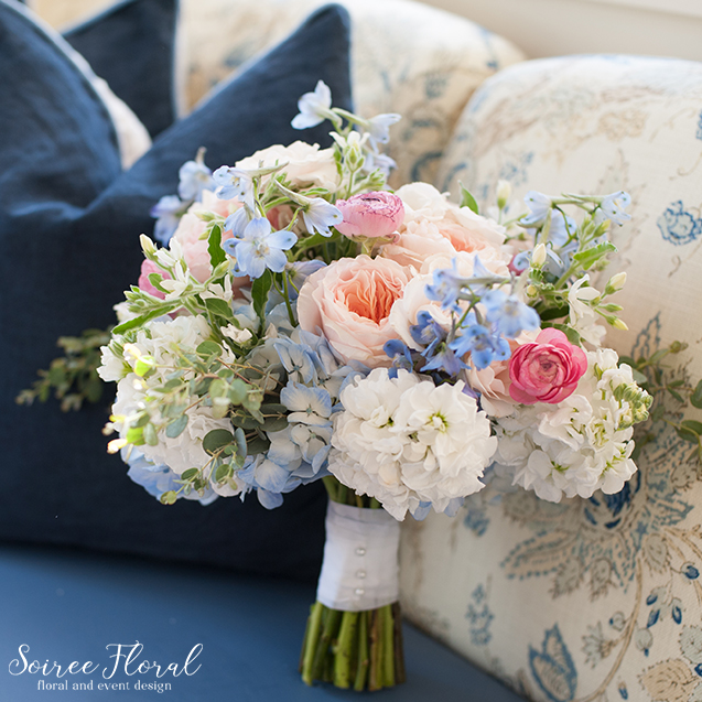 Garden Rose Bouquet – Peach Blue Pink – Nantucket Wedding