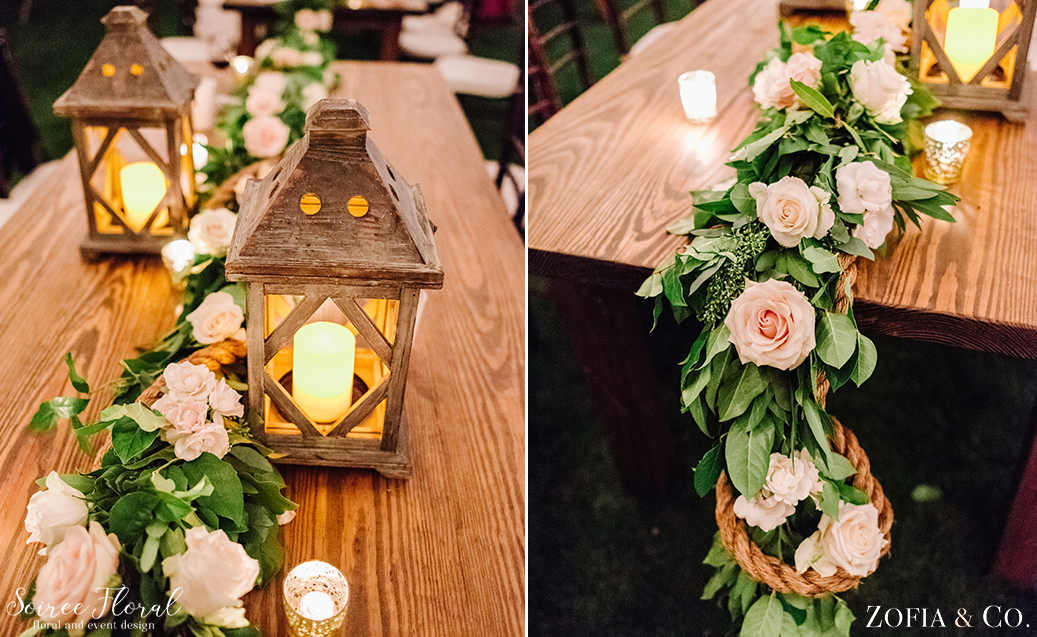Garland and Nautical Rope Table Decor