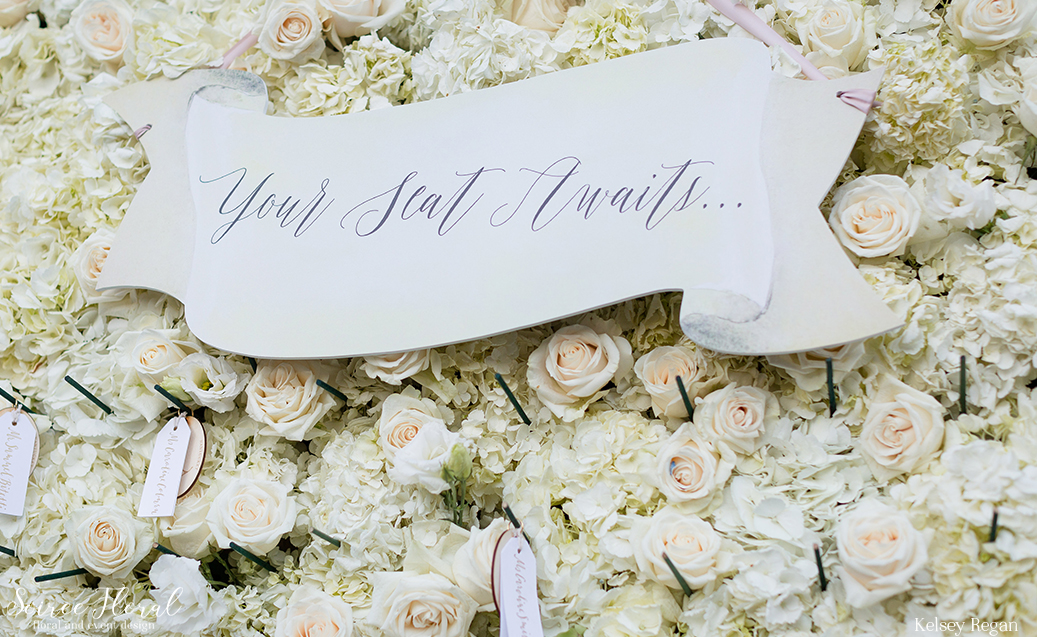 Custom Escort Wall Signage – Flower Wall – Nantucket Wedding
