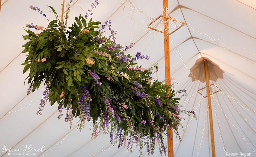 Hanging Floral Installation – Nantucket Wedding Tent