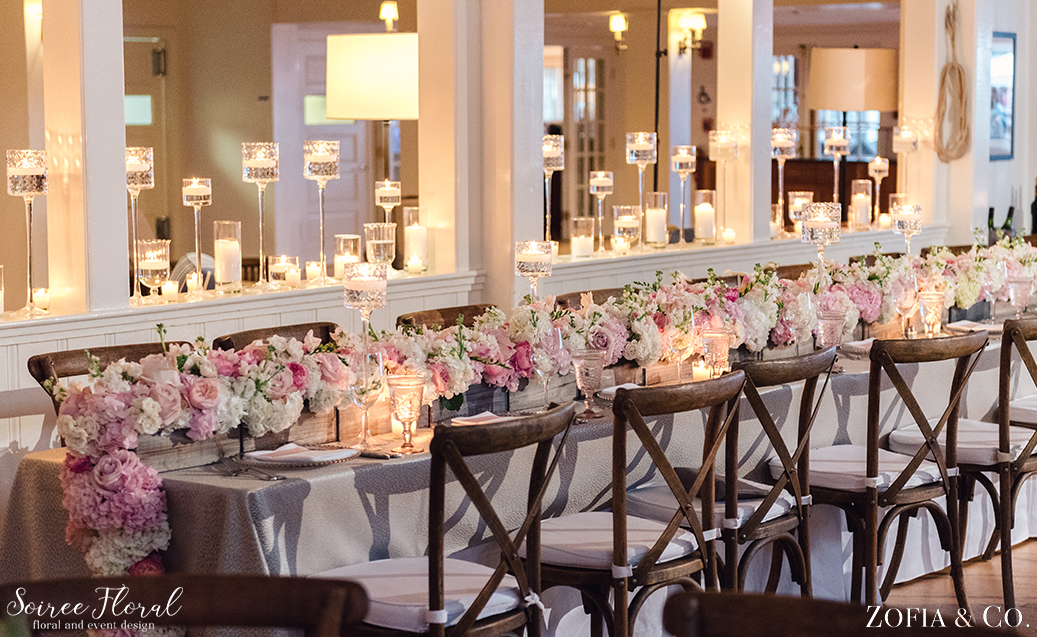 Lush Head Table Flower – Blush and White Nantucket Wedding