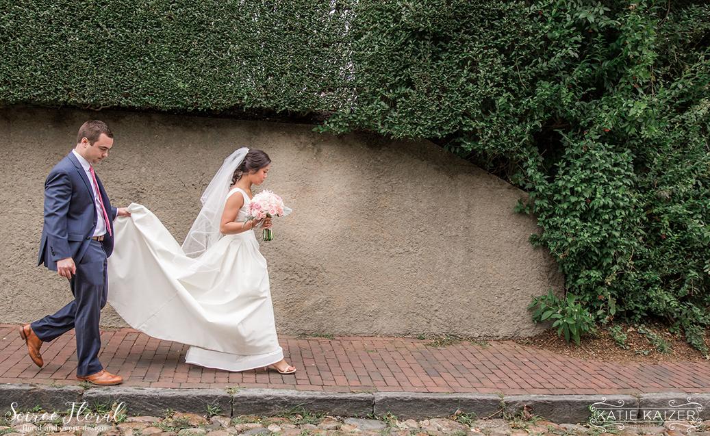 Nantucket Bride and Groom – Pink Bouquet