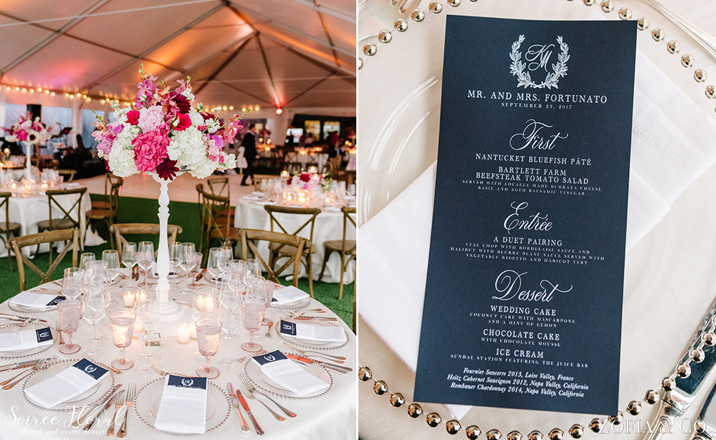 Nantucket Golf Club Wedding – Custom Navy Menu