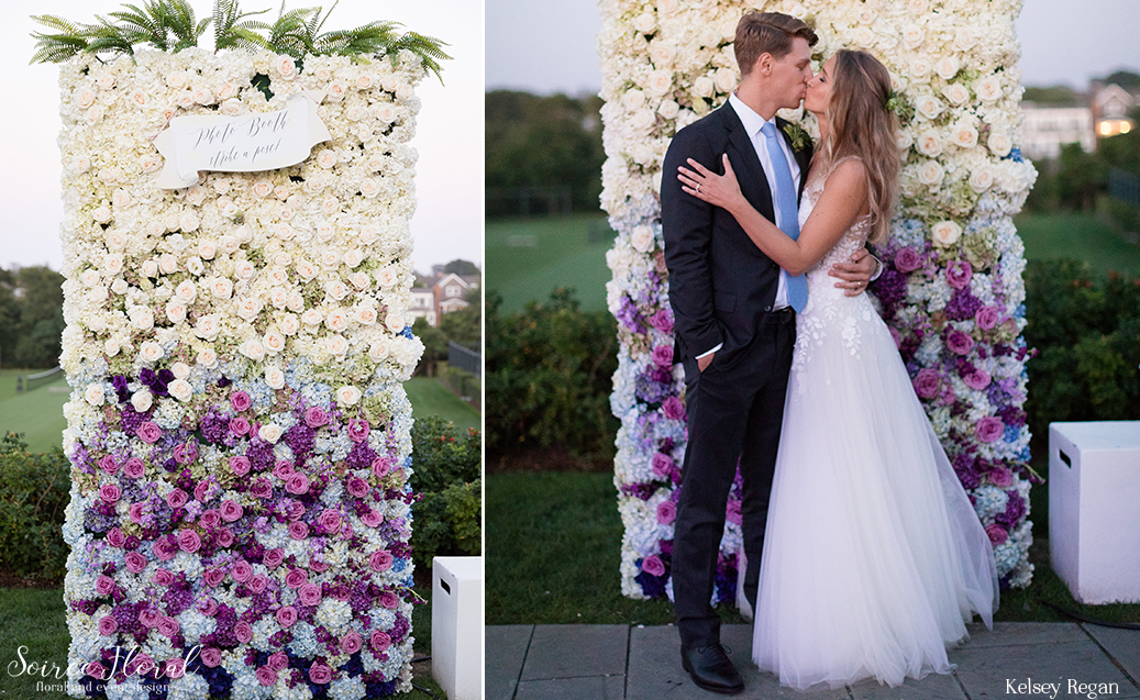 Ombre Flower Wall Nantucket Wedding