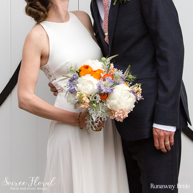 Orange and White Bridal Bouquet