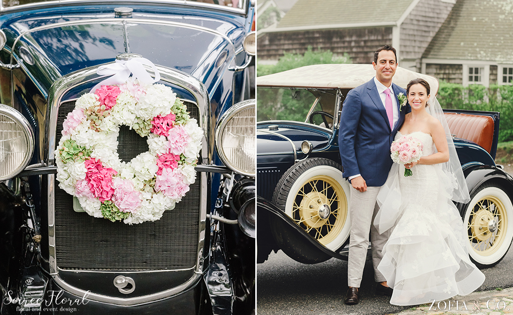 Pink Wedding Flowers – Car Wreath – Soiree Floral Nantucket