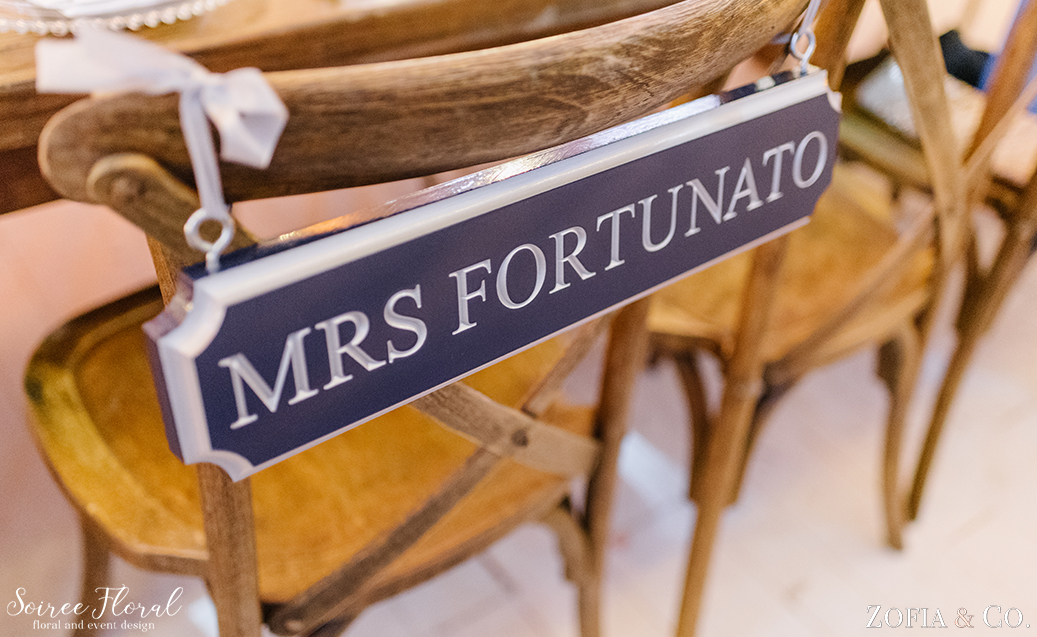 Quarterboard Chair Signs – Nantucket Wedding