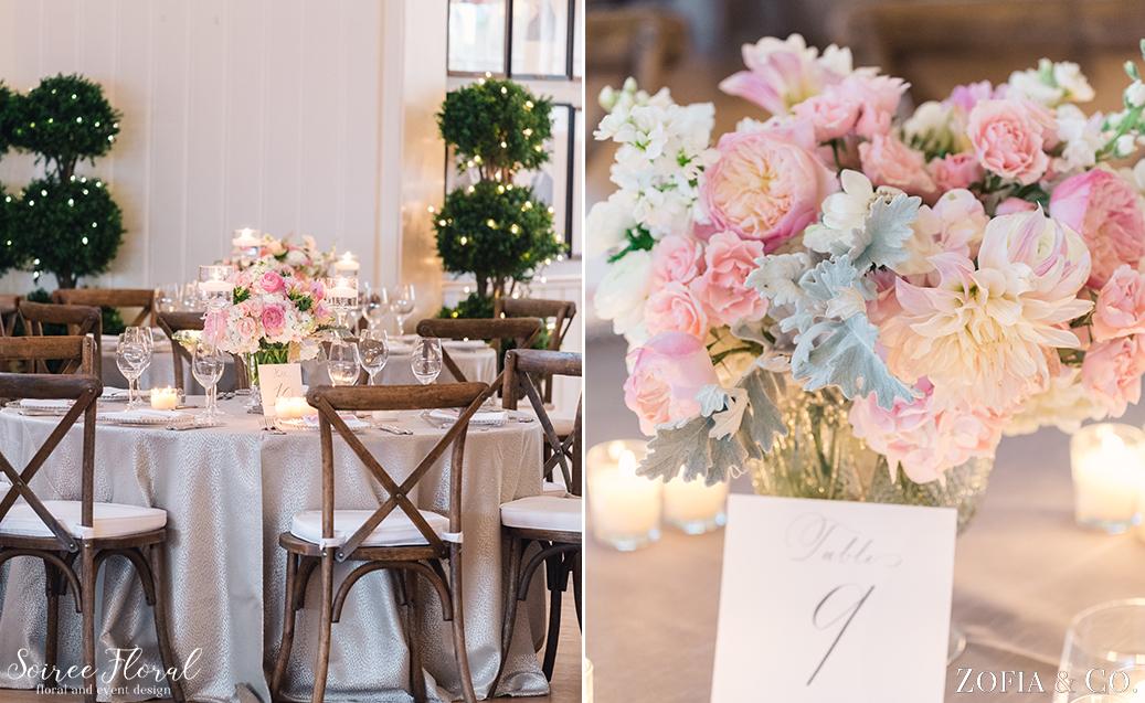 White and Blush Centerpiece – Nantucket Wedding