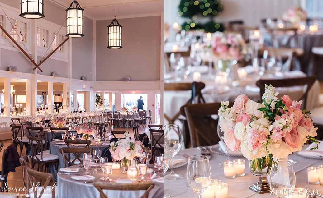 White and Blush Nantucket Yacht Club Wedding Flowers