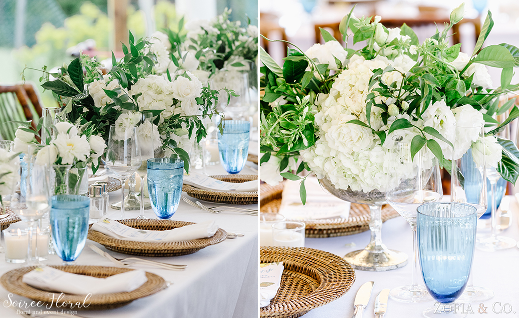 Green and White Centerpiece – Nantucket Wedding – Soiree Floral