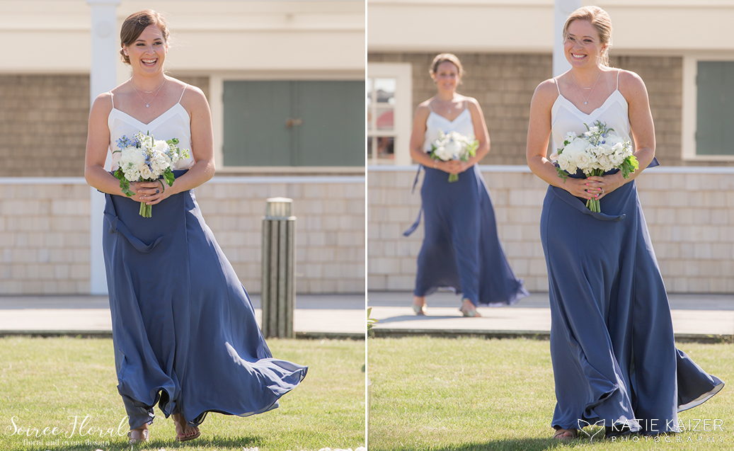 Blue and White Bridesmaids – Soiree Floral – Nantucket Wedding