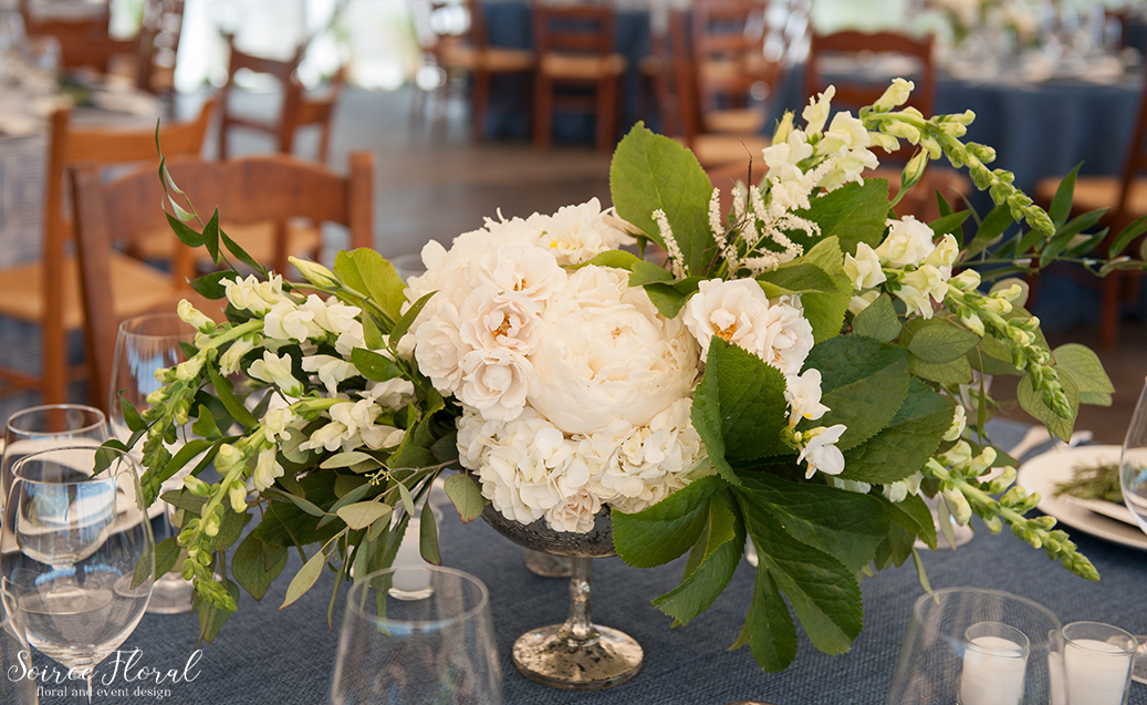 White and Green Peony Wedding Centerpiece – Nantucket