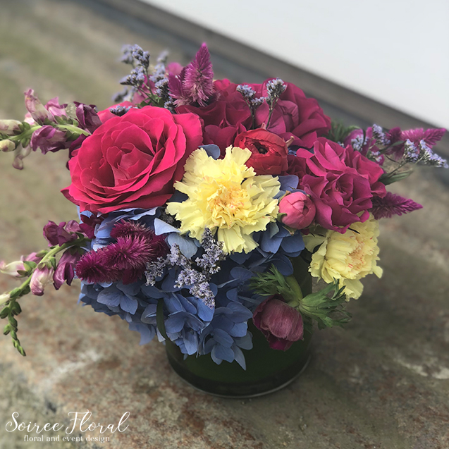 Blue Pink Yellow Centerpiece