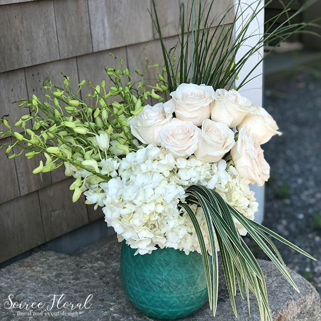 Modern Hydrangea Rose Orchid Arrangement