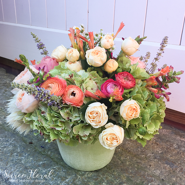 Peach Yelllow Green Arrangement