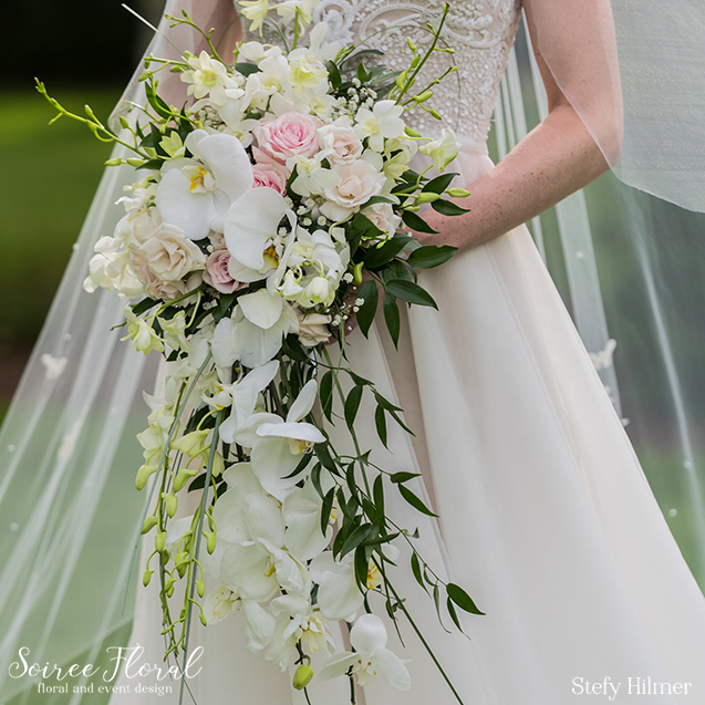 Pink and White Cascading Bouquet