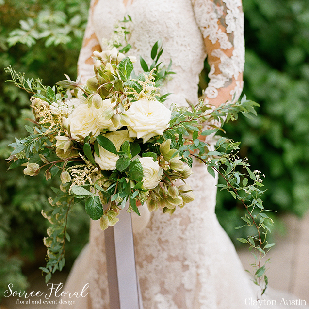 Green and White Trailing Bouquet