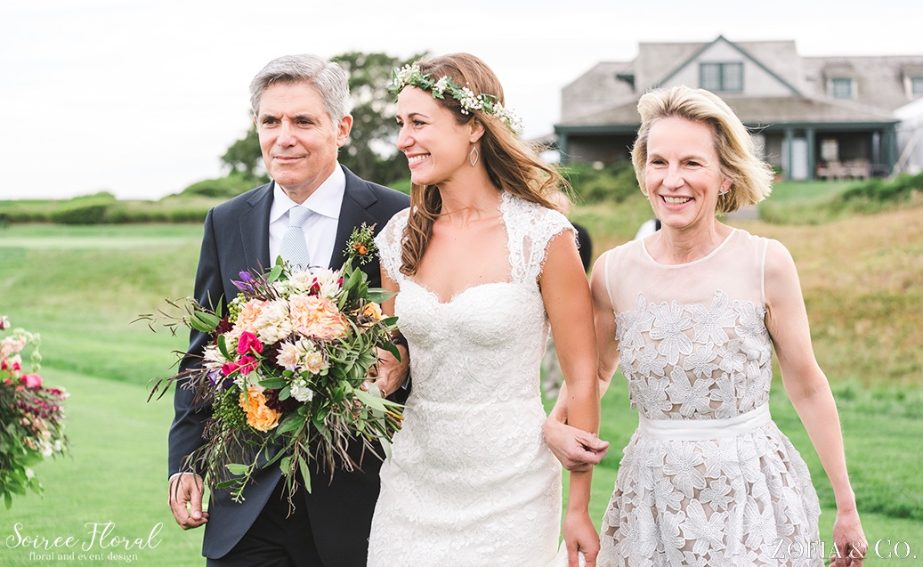 Bride with Boho Bouquet and Flower Crown Soiree Floral Nantucket 6
