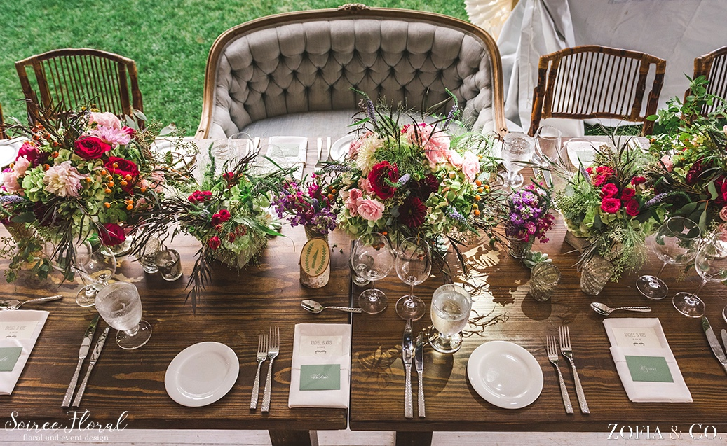Eclectic Head Table with Lush Floral Designs by Soiree Floral Nantucket 8