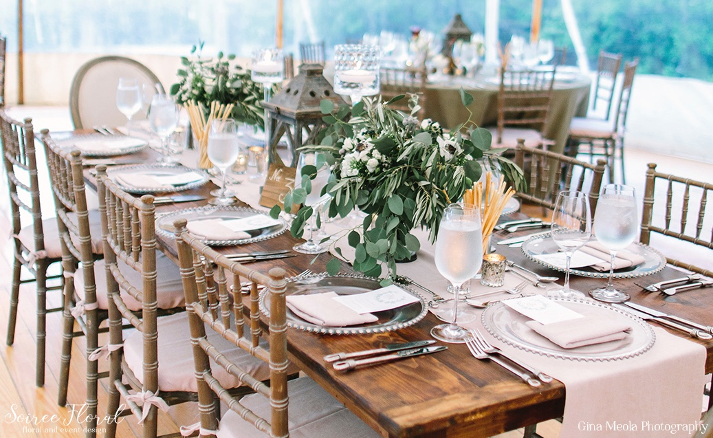 Farm Tables with Green and White Floral Centerpieces Soiree Floral Nantucket 19