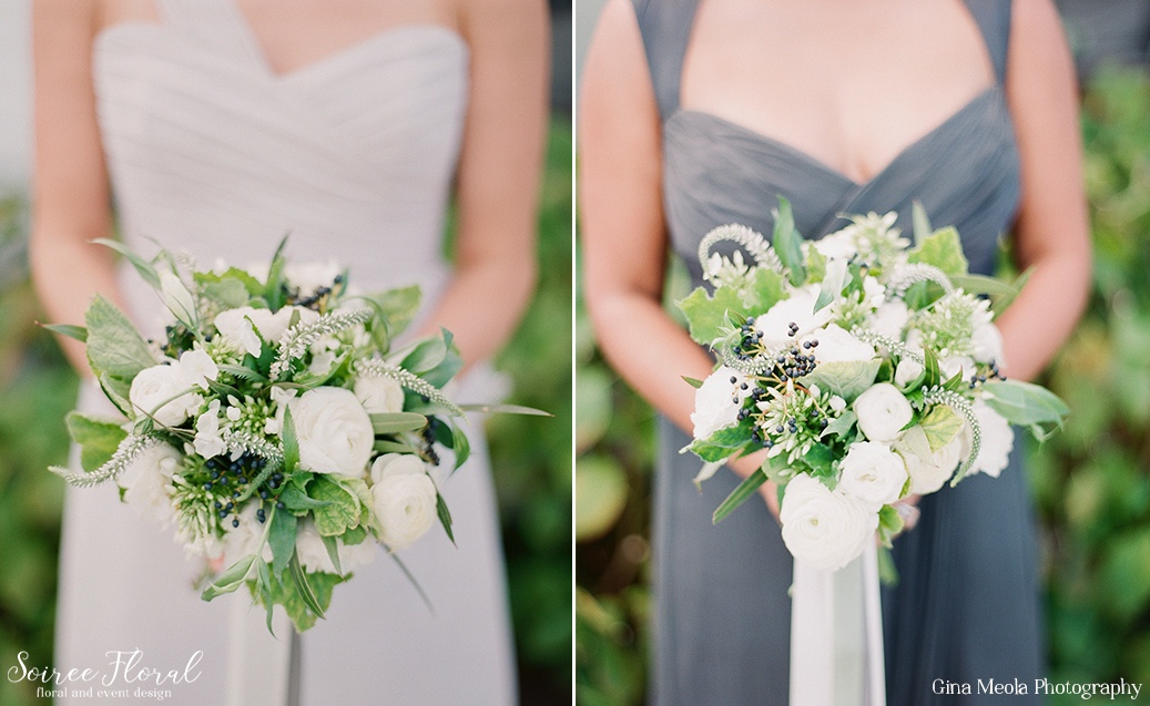 Green and White Bridesmaids Bouquets in Amsale Dresses Nantucket Wedding Soiree Floral 3