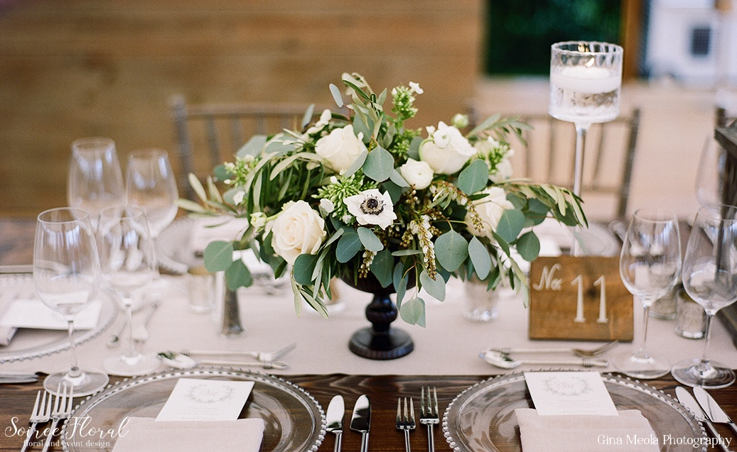 Green and White Wedding Centerpiece with Anemones Soiree Floral Nantucket 9